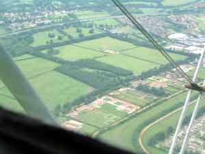 Over-flying Newmarket racecourse.